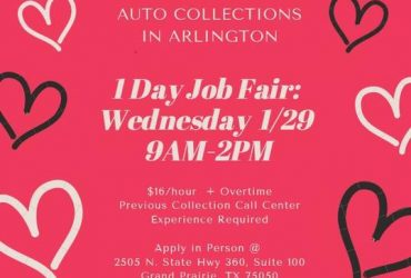 One Day Job Fair: TODAY 1/29 from 9AM -2PM (ARLINGTON)