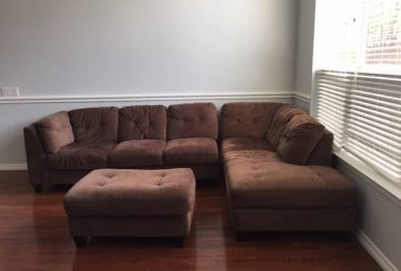 Two sectional sofa and ottoman – FREE (Lewisville TX)