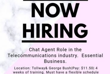 WE'RE HIRING – CHAT AGENTS – START FRIDAY (Addison)