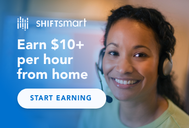 Work from home and earn $10+/hr evenings & weekends with Shiftsmart