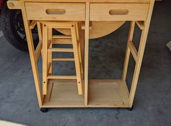 FREE Rollable, Collapsible Kitchen Island with Stool (Hoboken)