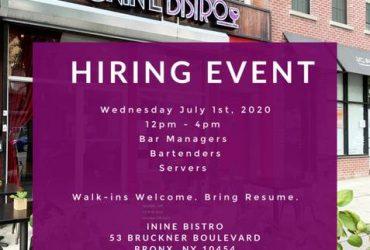 July 1st Hiring Event at Restaurant (New York)