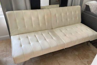 White leather sofa bed (Miami)