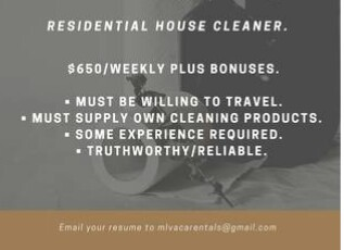 Residential House Cleaner/Housekeeper (Orlando, FL.)