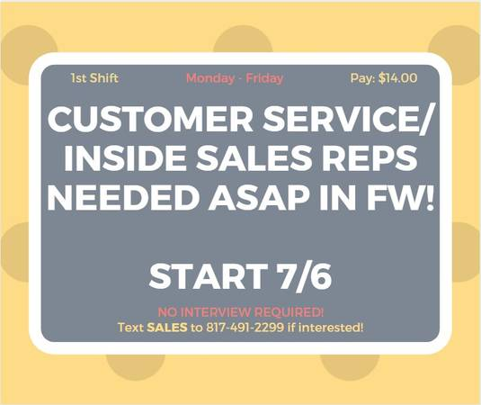 CALL CENTER – INSIDE SALES -AUTO FINANCE COMPANY (FORT WORTH, TEXAS)