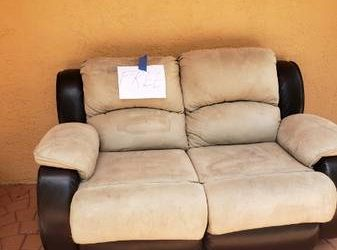 CURB ALERT: suede/leather love seat (Lighthouse Point)