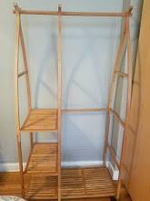 TAKEN – FF Wooden Clothes Rack with Wheels (Midwood, Brooklyn)