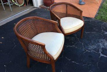 2 wood & wicker chairs (Boca Raton)