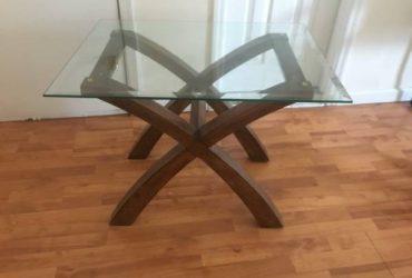 Glass and wood coffee table (Carroll Gardens)