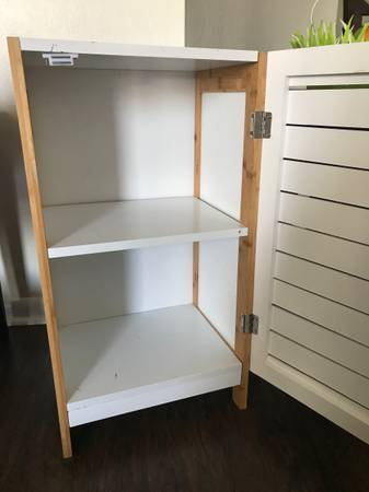 Little White bathroom storage Cabinet with two shelves (Fort lauderdale)