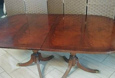Free Large Dining room table w 6 chairs and 3 leafs (winter park country lane)