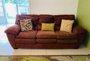 Free Microfiber Sofa with throw pillows (Belleair Bluffs)