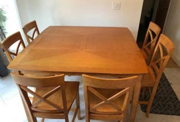 Dining room dinner table counter height and 8 chairs [ FREE ] (south florida)