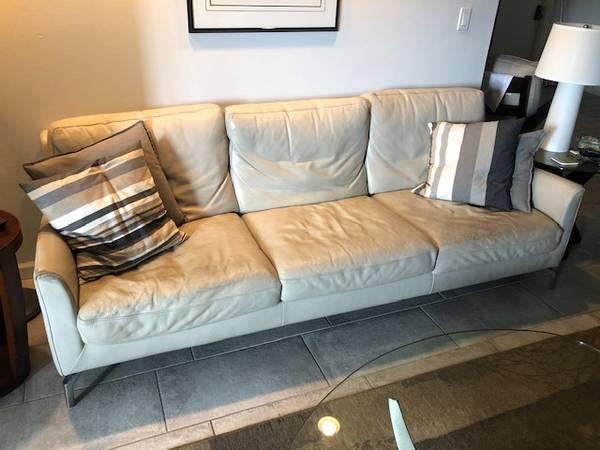 """Sofa, 90"""" Leather Contemporary Sofa (Lauderdale by The Sea)"""
