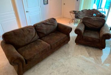Faux Suede Couch and Club Chair (Pompano Beach)