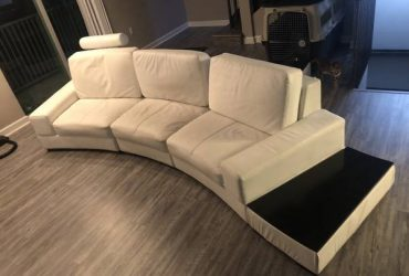 White PU leather sectional sofa with two side tables (Hollywood)