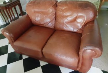 Free Free Distressed Leather Loveseat (clean) (Dunedin)