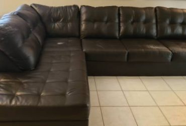 STILL AVAILABLE **FREE **BROWN FAUX LEATHER SECTIONAL SOFA (LAND O LAKES)