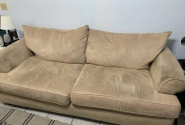 Free Leather Chair and Ottoman + Fabric Couch (Lutz)