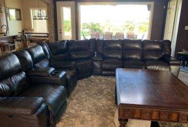 Free old Large Leather Sectional