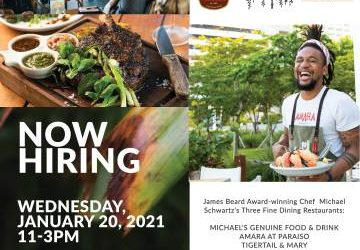 Chef Michael Schwartz is hiring for ALL POSITIONS in ALL RESTAURANTS (Miami)