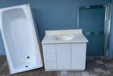 Bathroom Cast Iron Tub, Vanity, Shower Door (Kendall)