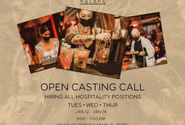 PALAPA MIAMI HIRING ALL FOH/BOH – JOB FAIR/CASTING CALL TODAY! (33137)