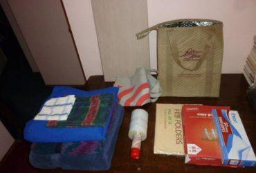 2 bath towels, throw, shelf, small shrink wrap, desk supplies, etc (East Village)