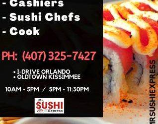 Hiring: Cashier/Cook [Cajera/Cocina] Japanese Restaurant (Kissimmee, FL Orlando, FL)