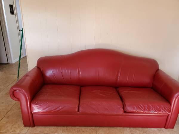 Red leather like sleeper sofa (College park)