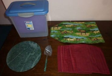 Cloth napkins, table runner, marble cheese board set, file caddy (East Village)