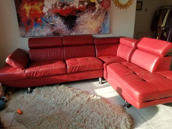 Modern Sectional On the CURB 1;30 PM Faux Leather (Delray Beach)