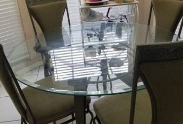 SOFA AND GLASS TOP 5 PIECE TABLE (coconut creek)