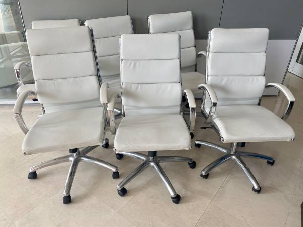 6 Office Chairs, white leather – 5 need fixing!! (Harbor Shops, Fort Lauderdale)