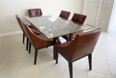WEST ELM / Custom glass + wood table with 6 leather chairs (Jupiter)