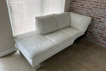 White Loveseat Style L Couch (25th St)